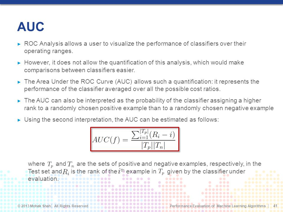 AUC ROC Analysis allows a user to visualize the performance of classifiers over their operating ranges.