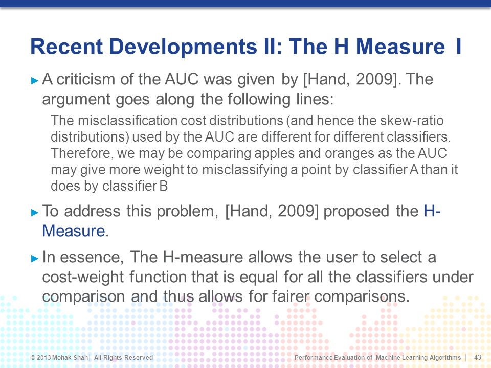 Recent Developments II: The H Measure I
