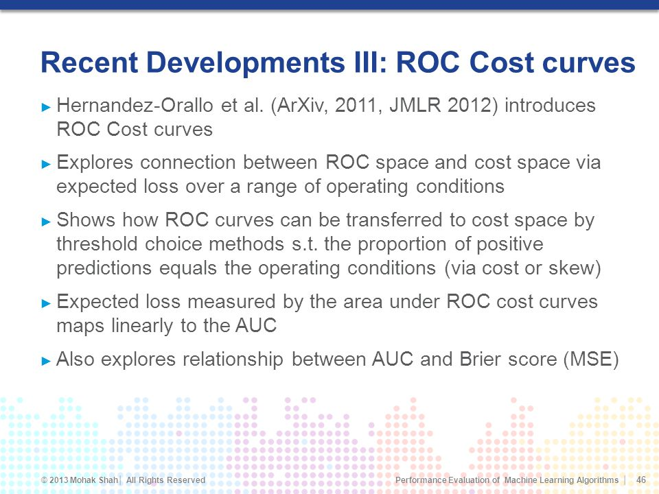 Recent Developments III: ROC Cost curves