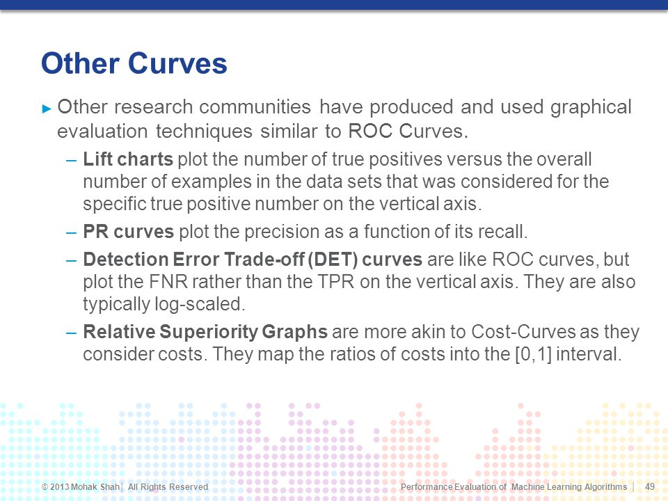Other Curves Other research communities have produced and used graphical evaluation techniques similar to ROC Curves.