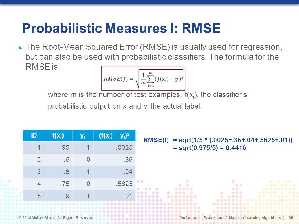Probabilistic Measures I: RMSE
