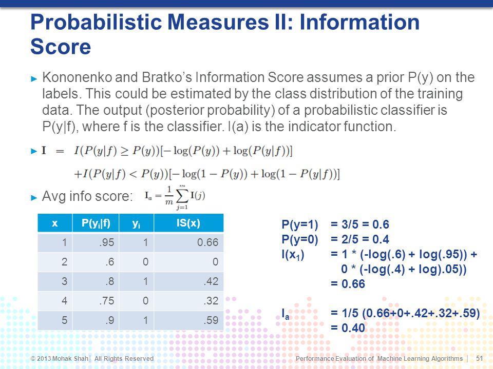 Probabilistic Measures II: Information Score