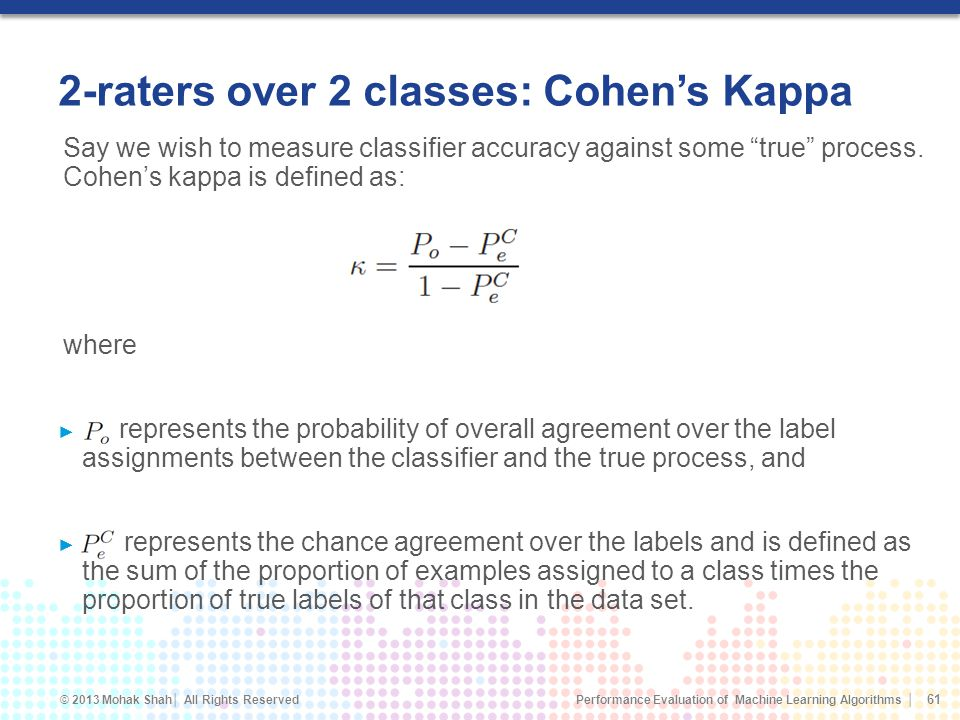 2-raters over 2 classes: Cohen's Kappa