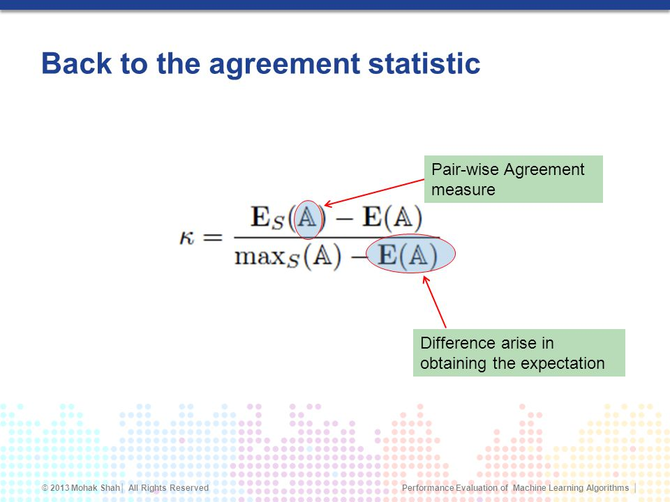 Back to the agreement statistic
