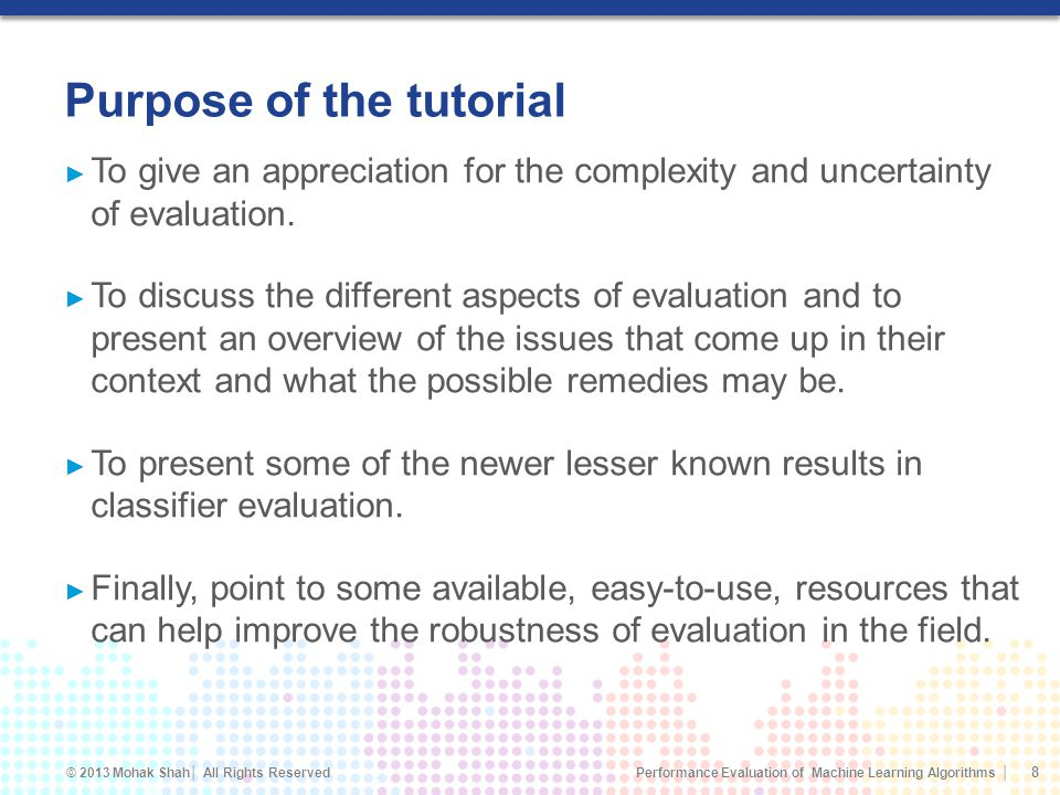 Purpose of the tutorial