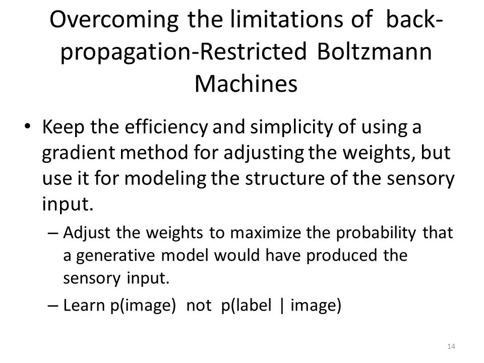 Overcoming the limitations of back-propagation-Restricted Boltzmann Machines