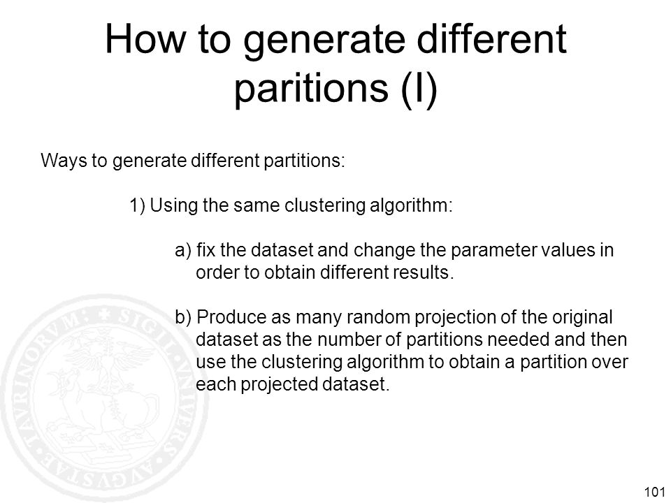 How to generate different paritions (I)