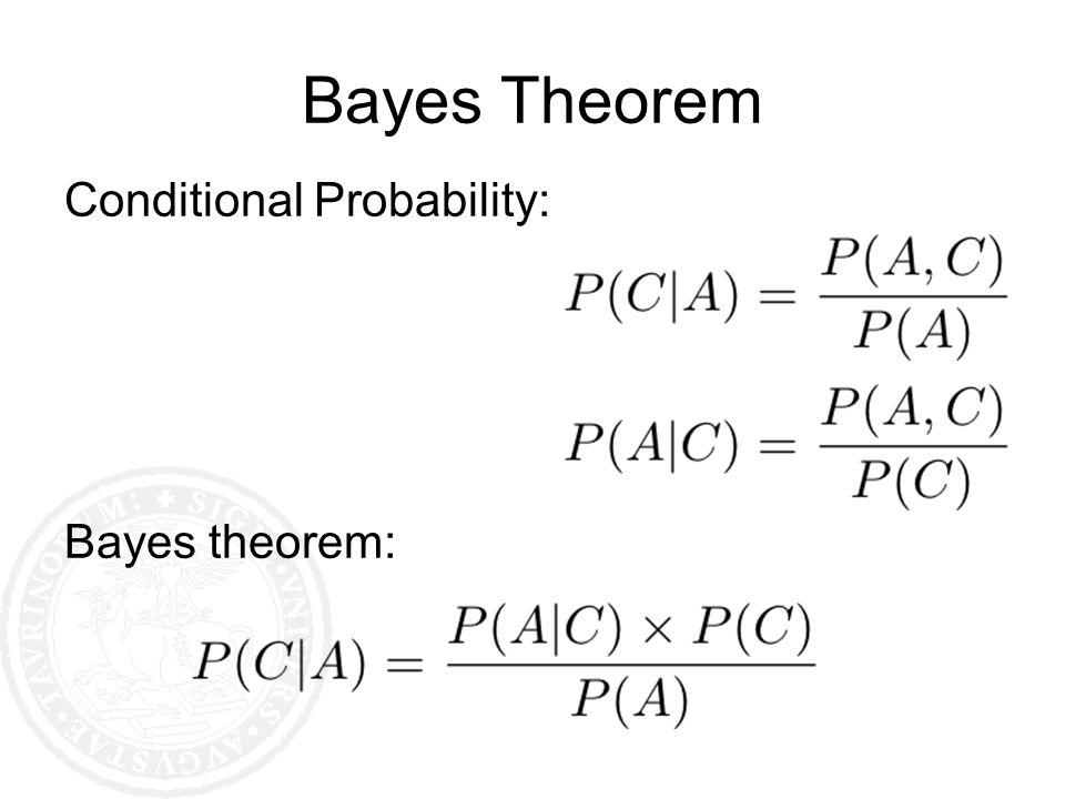Bayes Theorem Conditional Probability: Bayes theorem: