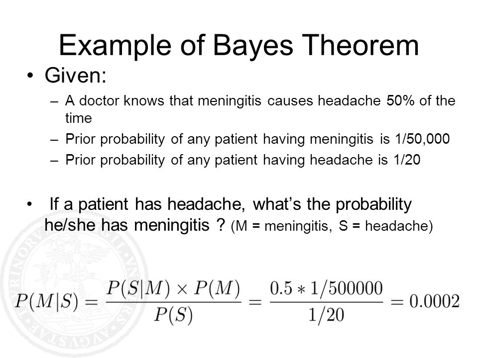 Example of Bayes Theorem