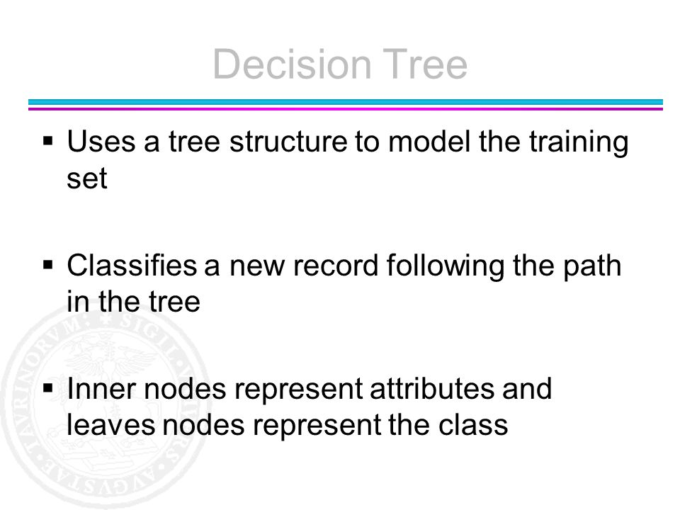 Decision Tree Uses a tree structure to model the training set