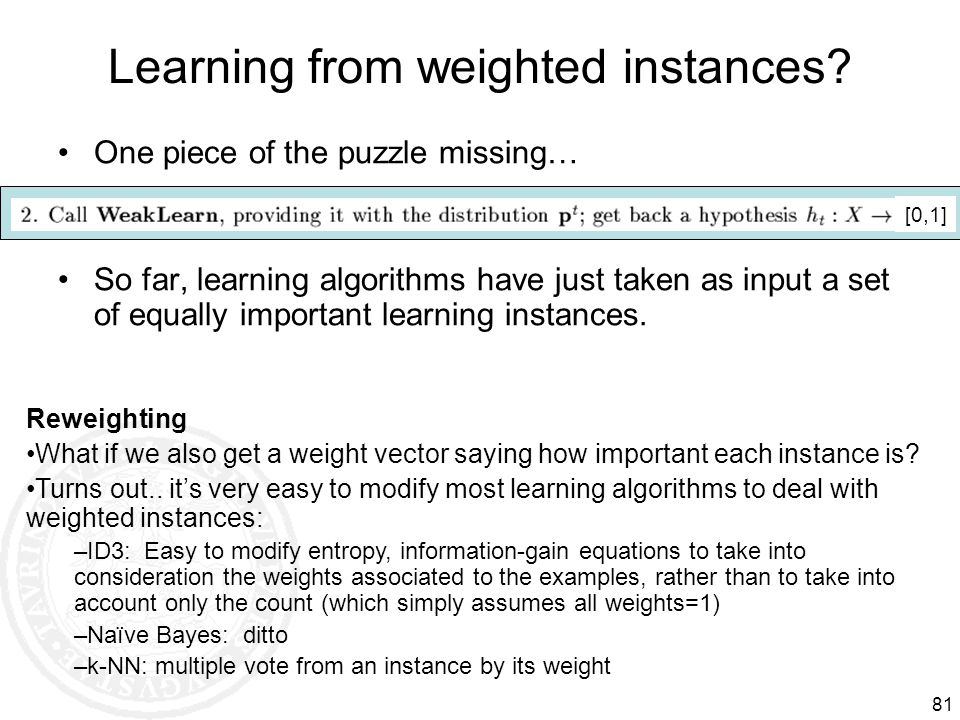 Learning from weighted instances