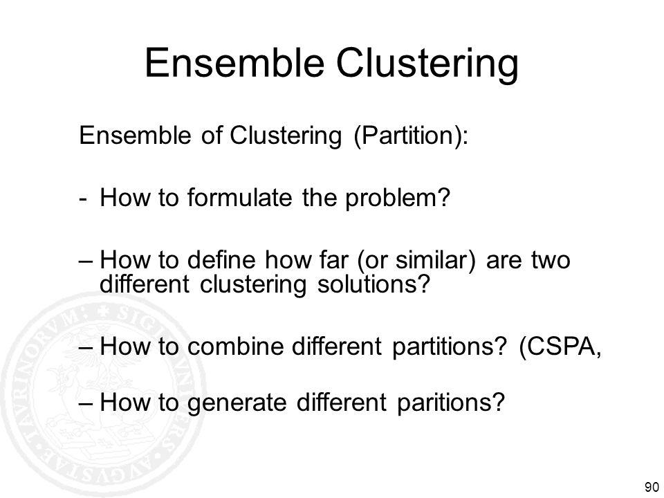 Ensemble Clustering Ensemble of Clustering (Partition):