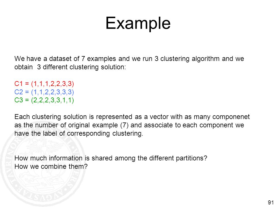 Example We have a dataset of 7 examples and we run 3 clustering algorithm and we obtain 3 different clustering solution: