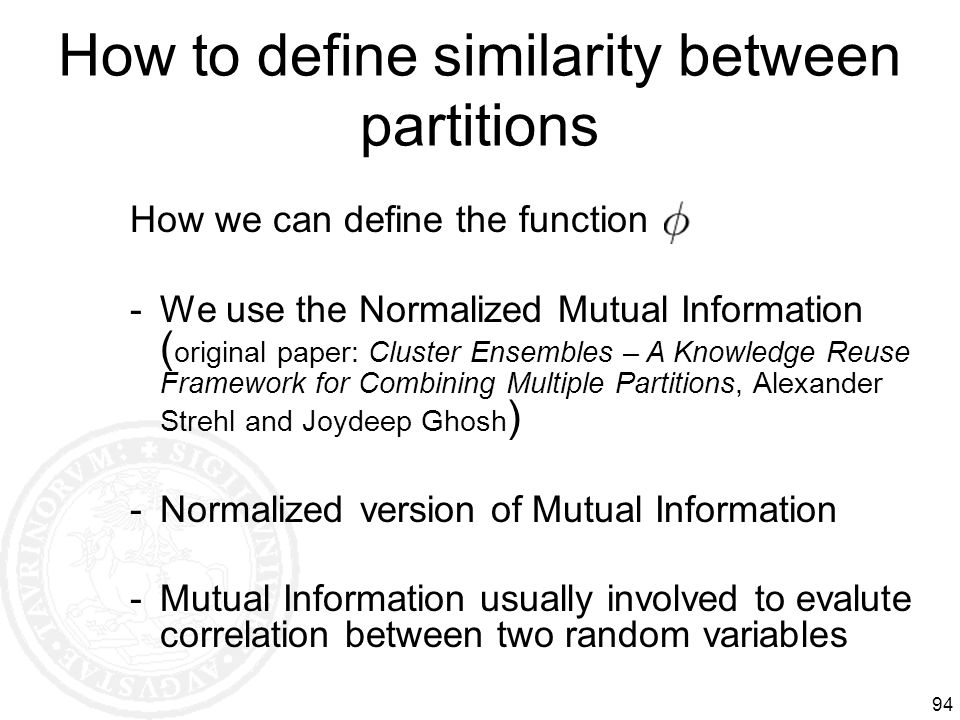How to define similarity between partitions