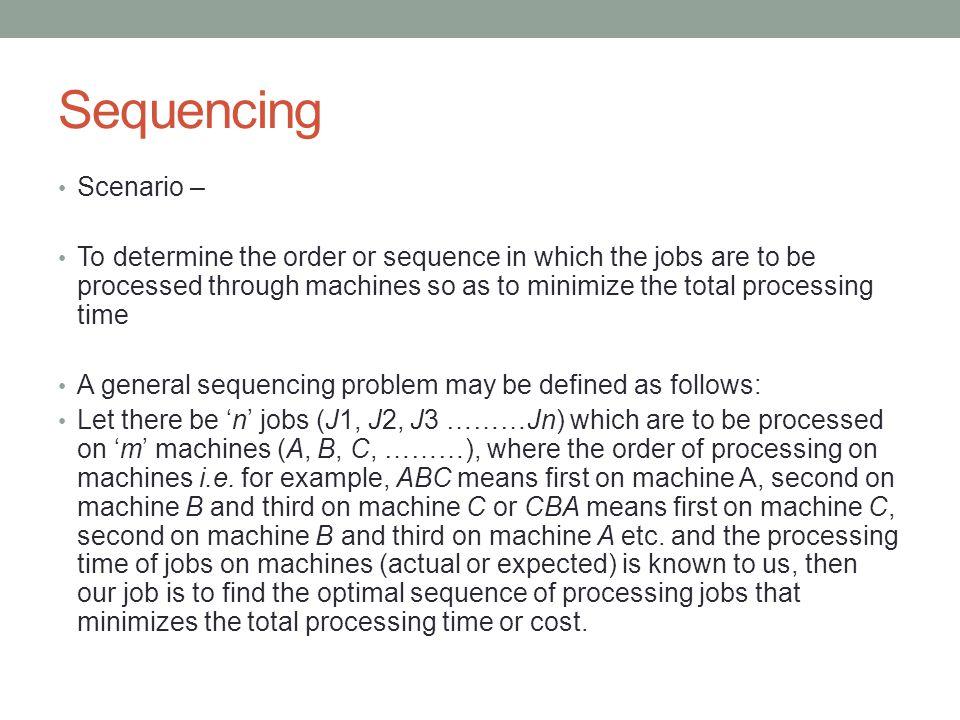 Sequencing Scenario –