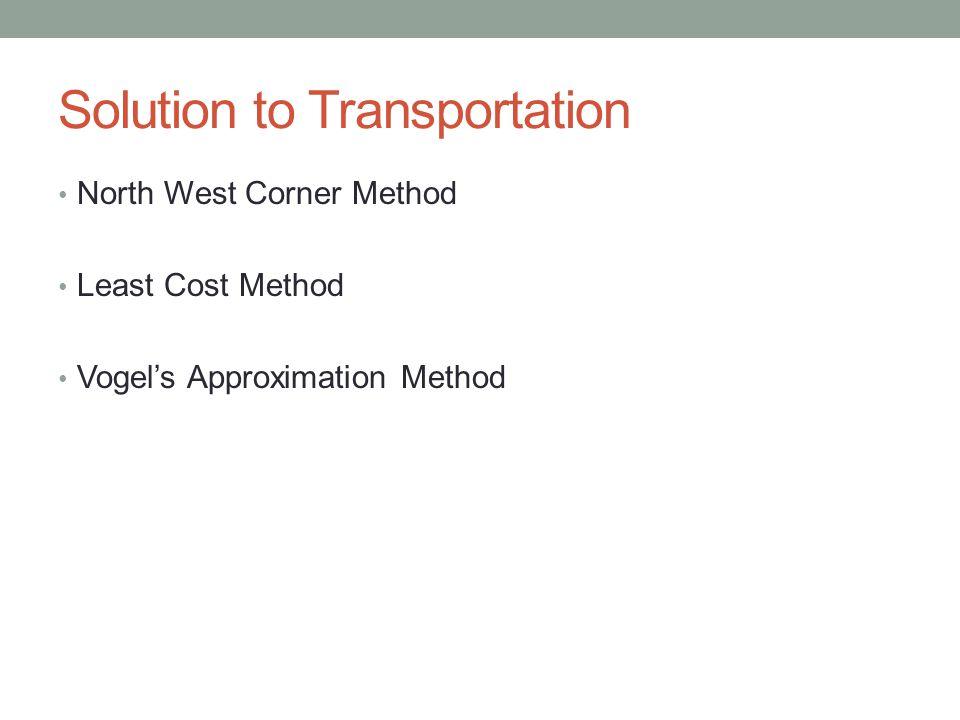 Solution to Transportation