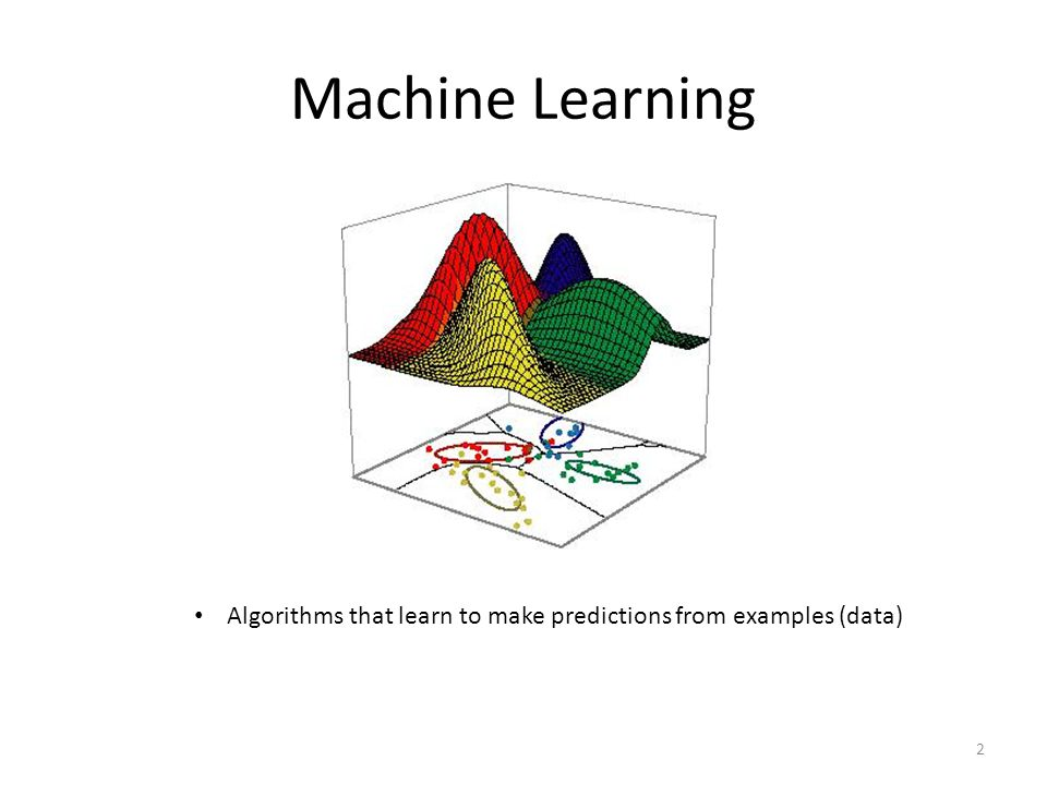 Machine Learning Algorithms that learn to make predictions from examples (data)