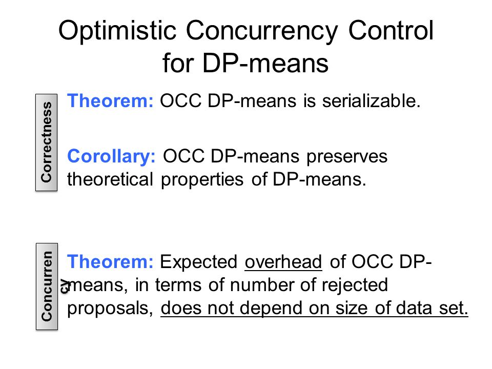 Optimistic Concurrency Control for DP-means