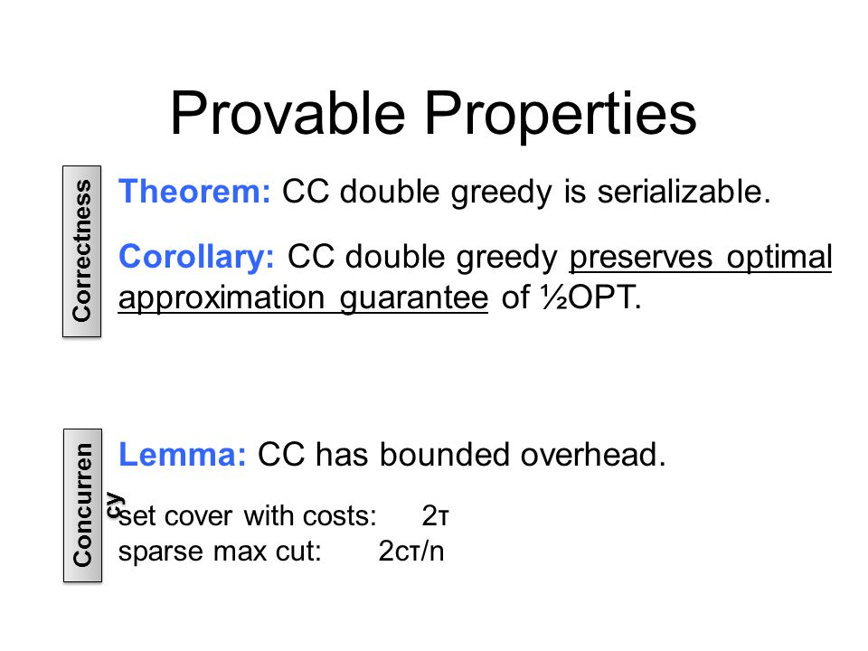 Provable Properties Theorem: CC double greedy is serializable.