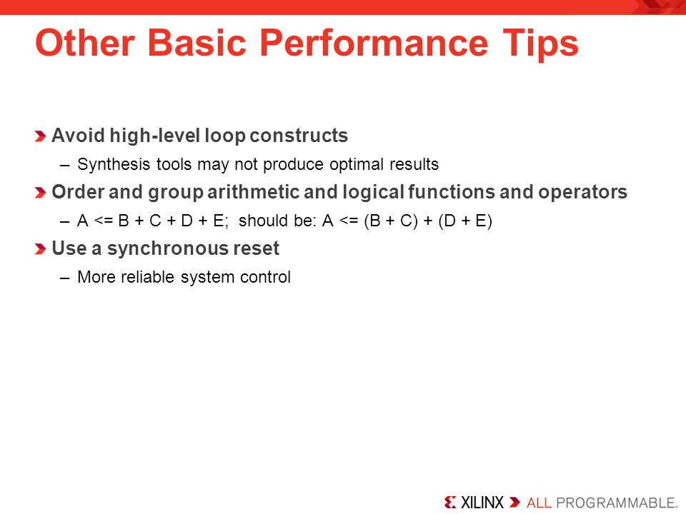 Other Basic Performance Tips