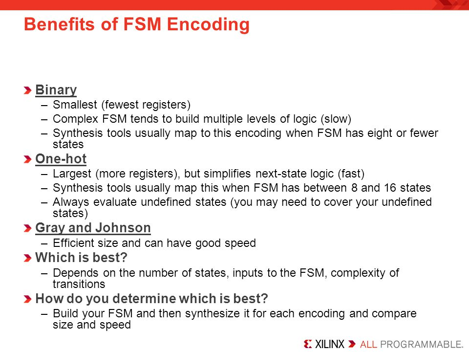 Benefits of FSM Encoding