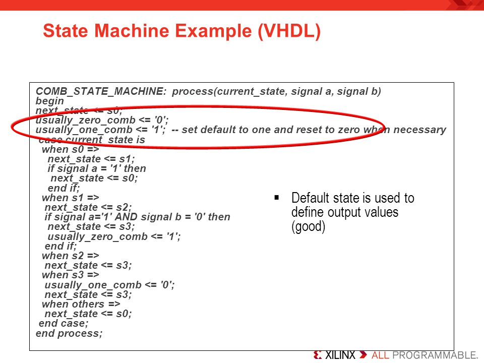State Machine Example (VHDL)
