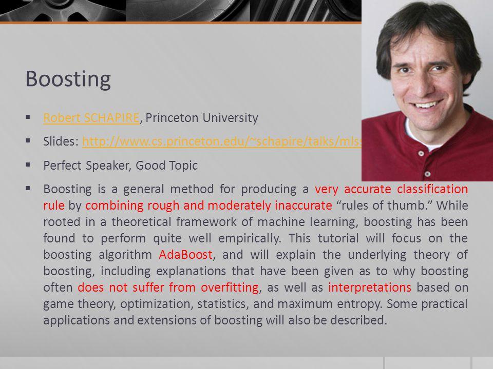 Boosting Robert SCHAPIRE, Princeton University