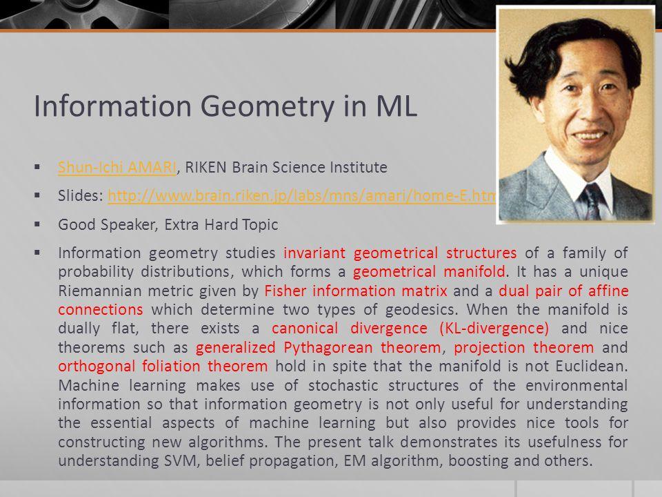 Information Geometry in ML