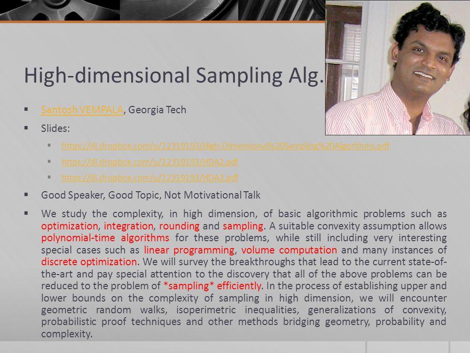 High-dimensional Sampling Alg.