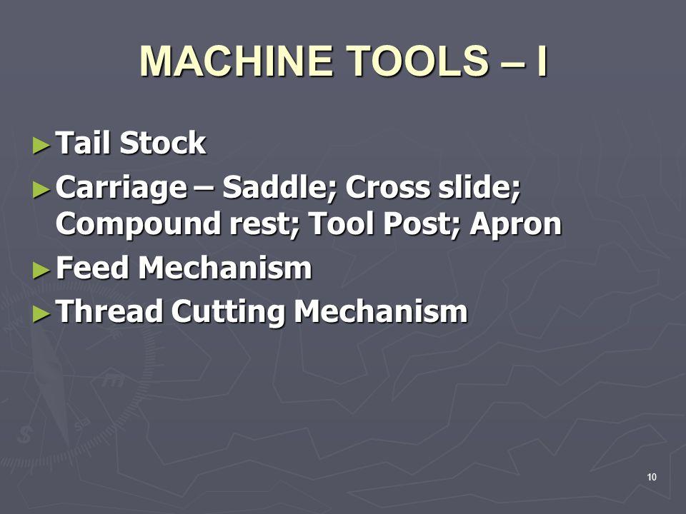 MACHINE TOOLS – I Tail Stock