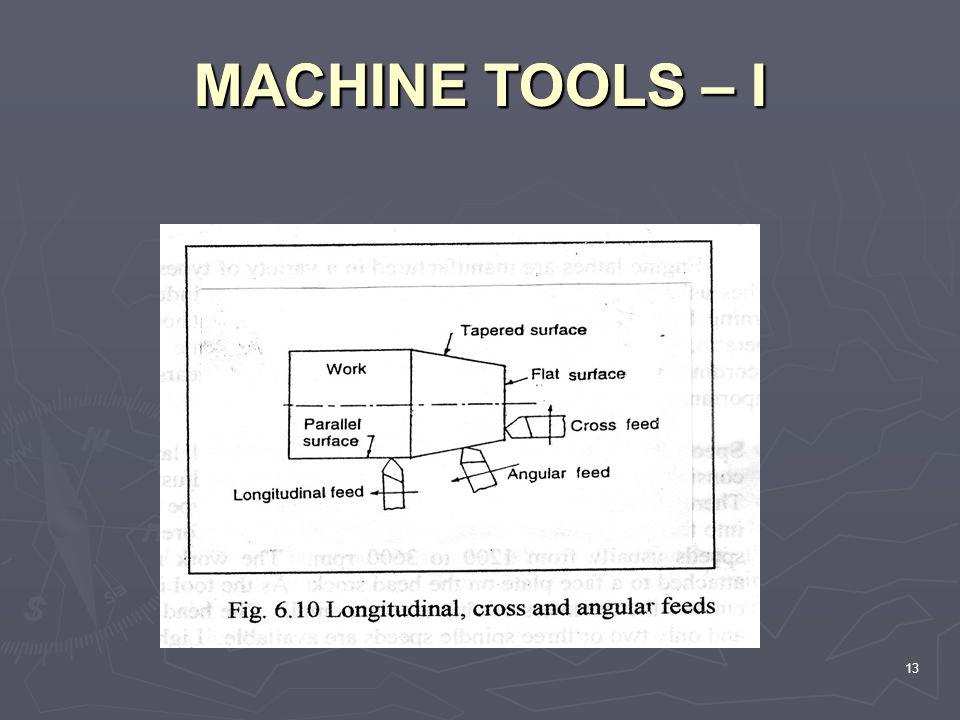 MACHINE TOOLS – I MACHINE TOOLS – I