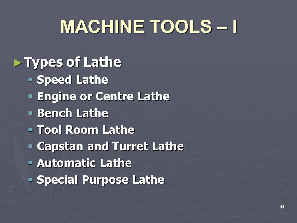 MACHINE TOOLS – I Types of Lathe Speed Lathe Engine or Centre Lathe