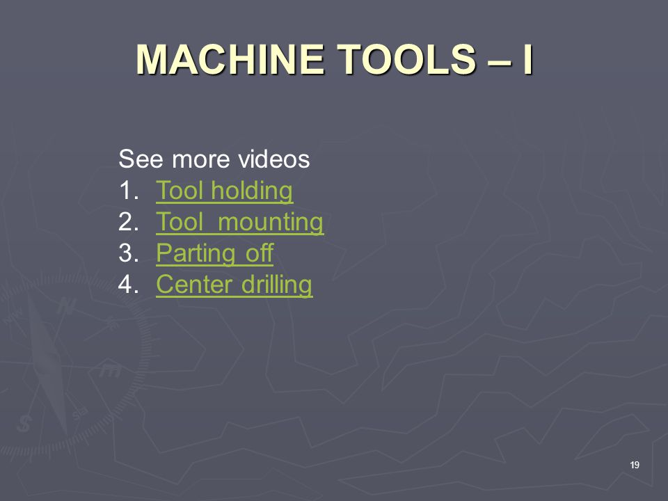 MACHINE TOOLS – I See more videos Tool holding Tool mounting
