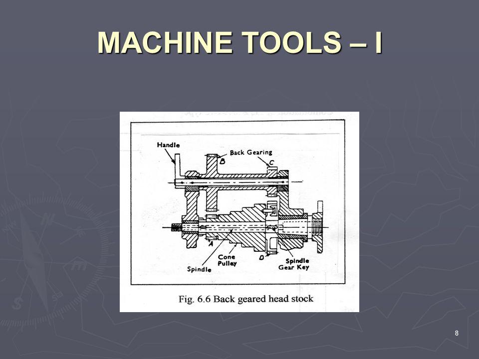 MACHINE TOOLS – I