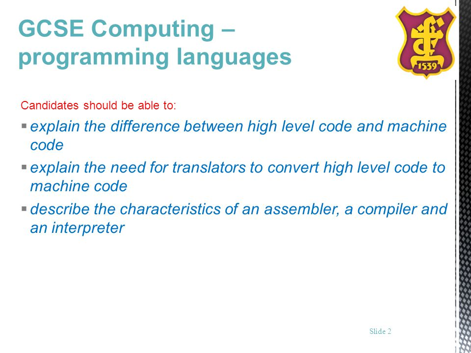 GCSE Computing – programming languages