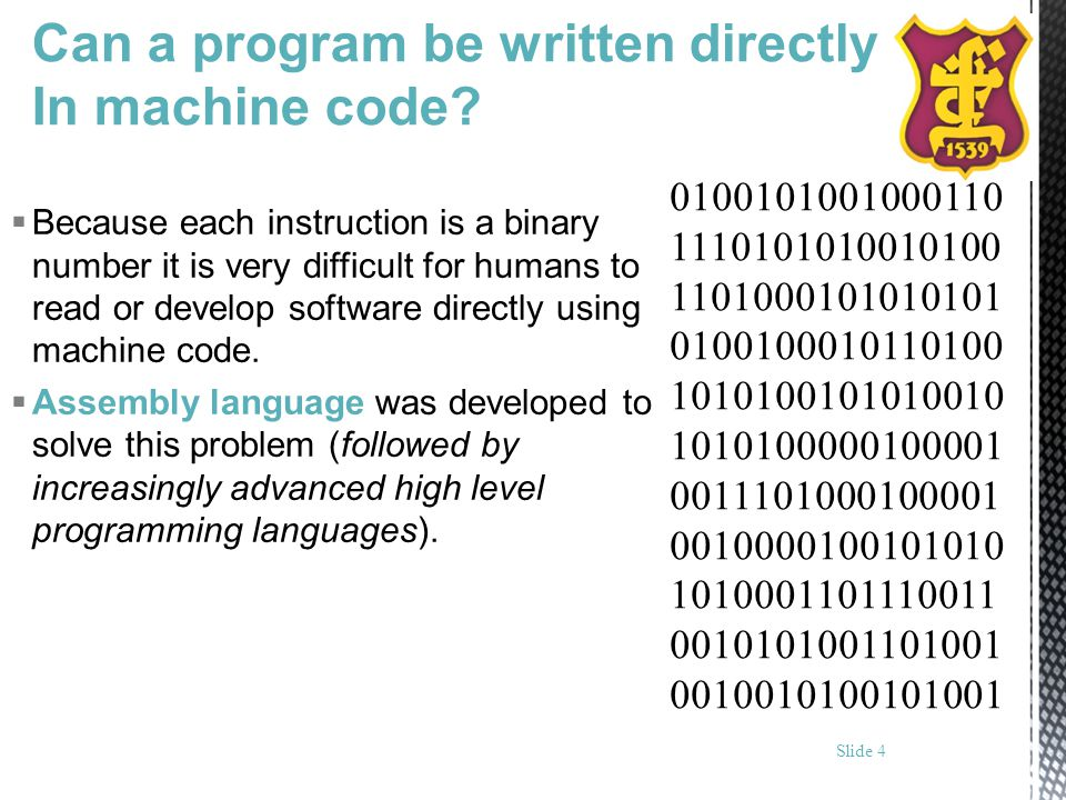 Can a program be written directly In machine code