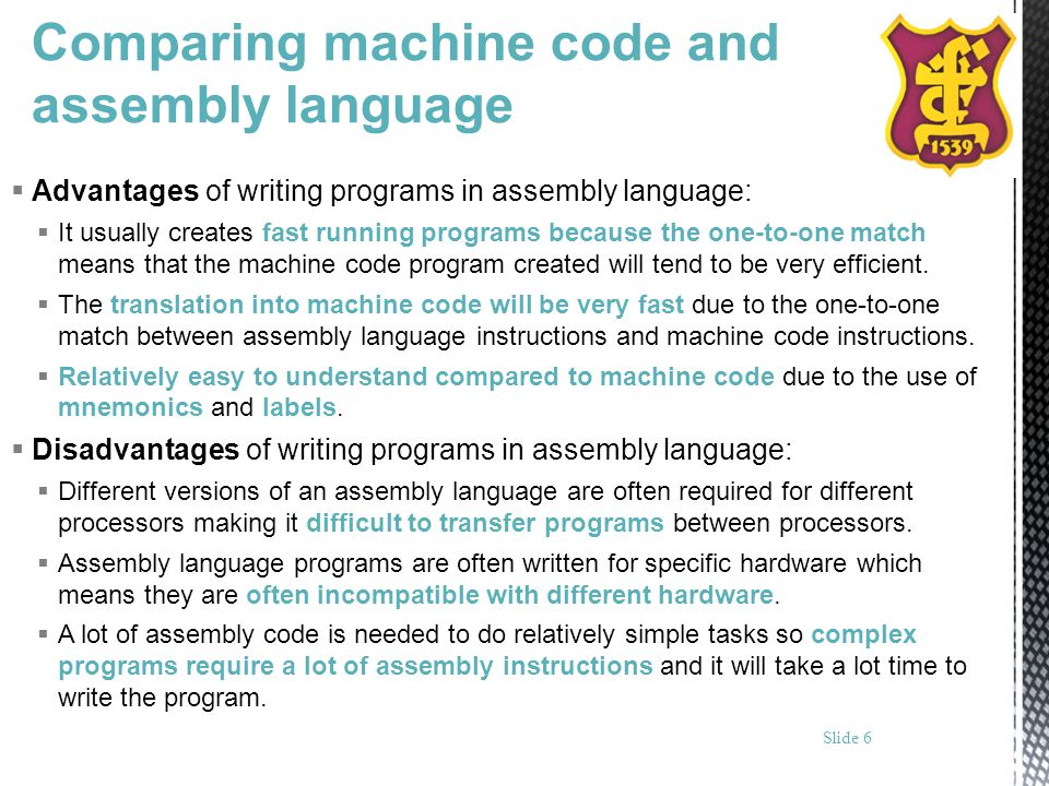 Comparing machine code and assembly language