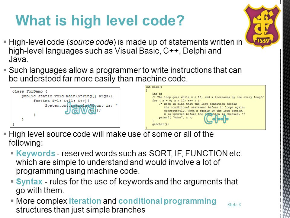 Java C++ What is high level code