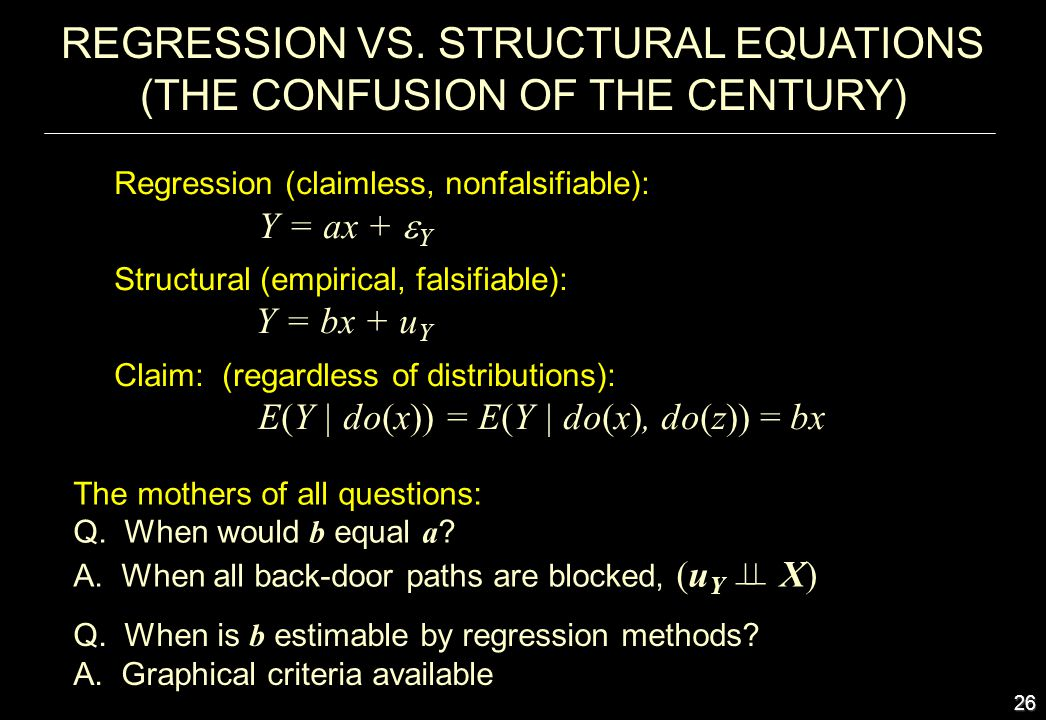 REGRESSION VS. STRUCTURAL EQUATIONS (THE CONFUSION OF THE CENTURY)