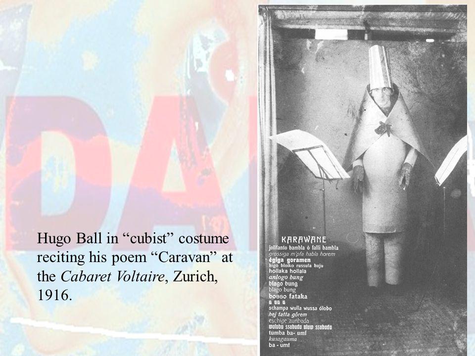 Hugo Ball in cubist costume