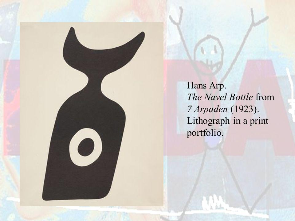 Hans Arp. The Navel Bottle from 7 Arpaden (1923). Lithograph in a print portfolio.