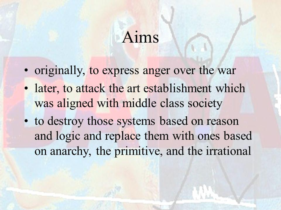 Aims originally, to express anger over the war