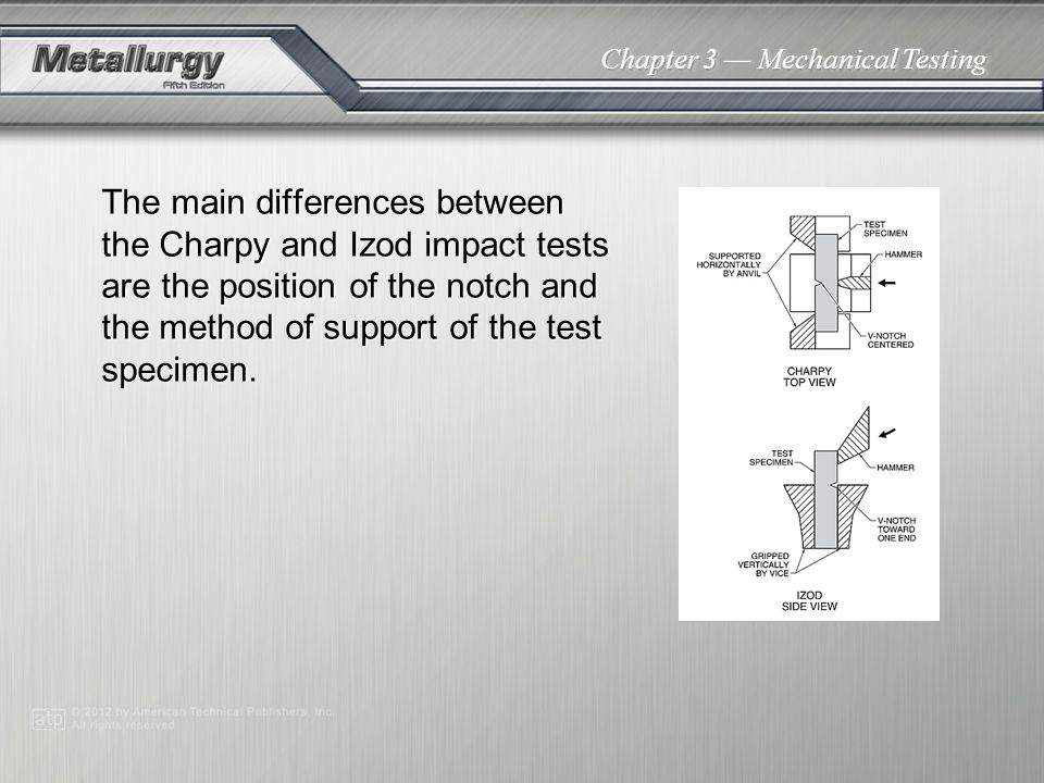 The main differences between the Charpy and Izod impact tests are the position of the notch and the method of support of the test specimen.
