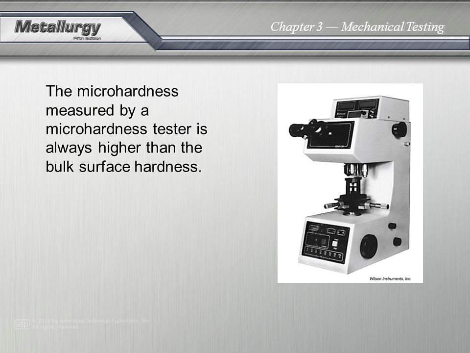 The microhardness measured by a microhardness tester is always higher than the bulk surface hardness.