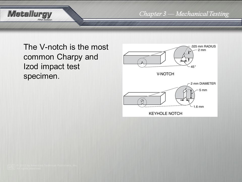 The V-notch is the most common Charpy and Izod impact test specimen.
