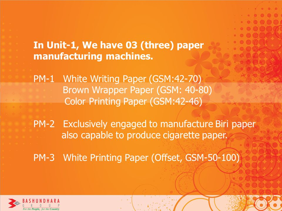 In Unit-1, We have 03 (three) paper manufacturing machines.