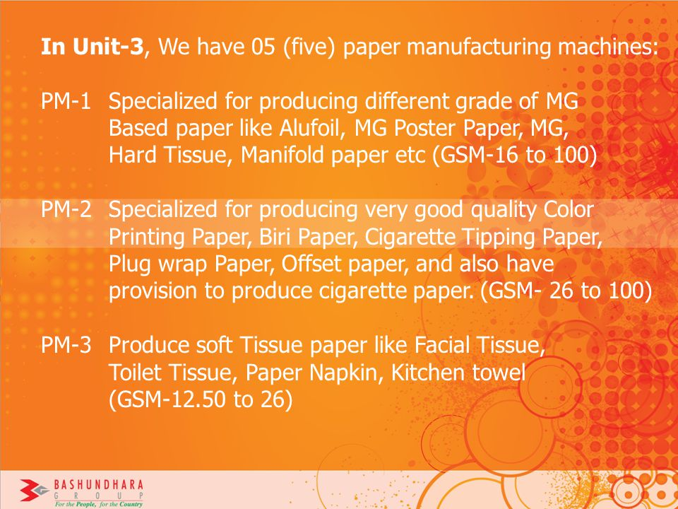 In Unit-3, We have 05 (five) paper manufacturing machines:
