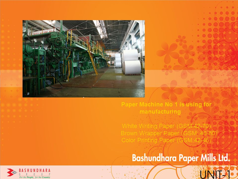 Paper Machine No 1 is using for manufacturing
