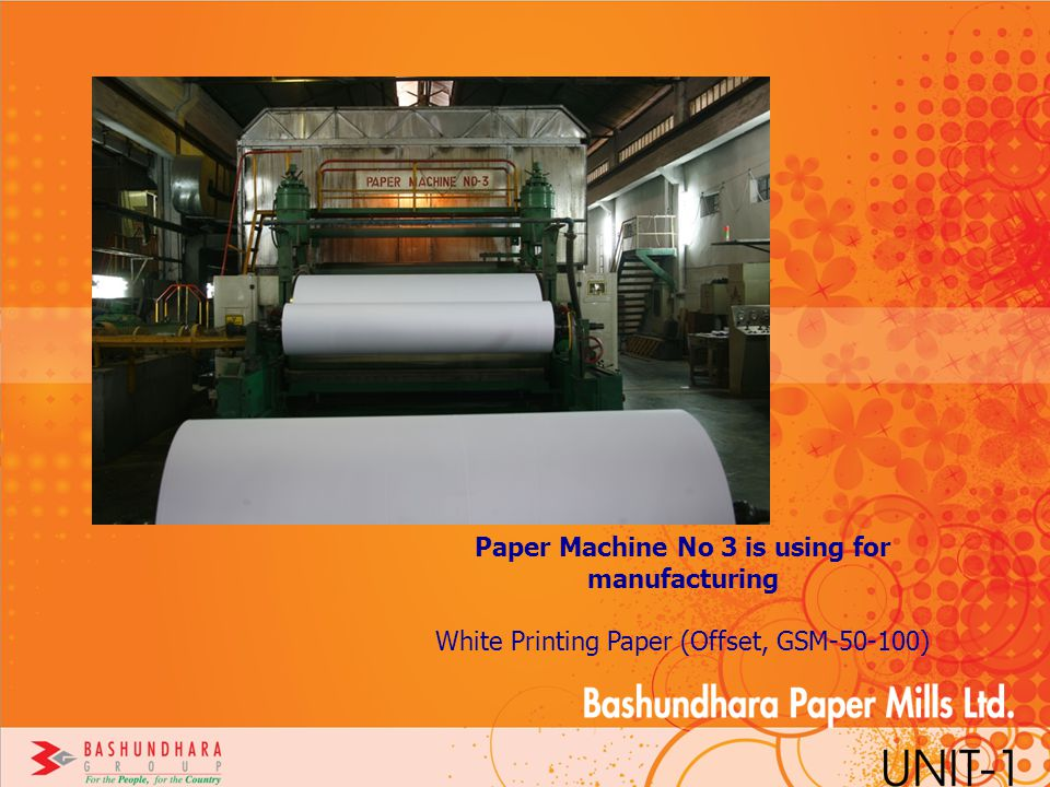 Paper Machine No 3 is using for manufacturing