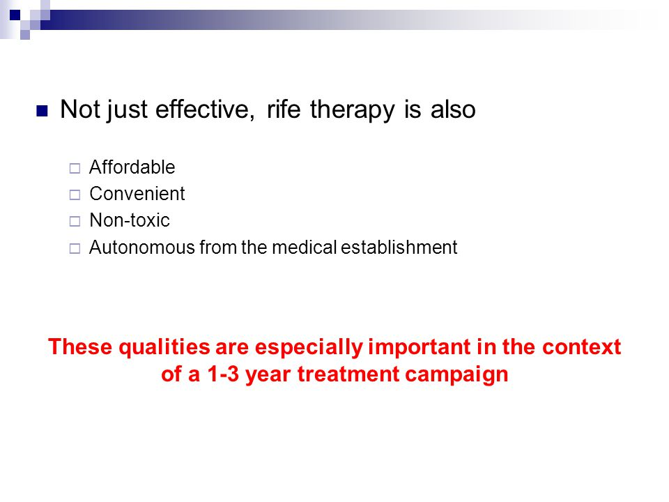 Not just effective, rife therapy is also